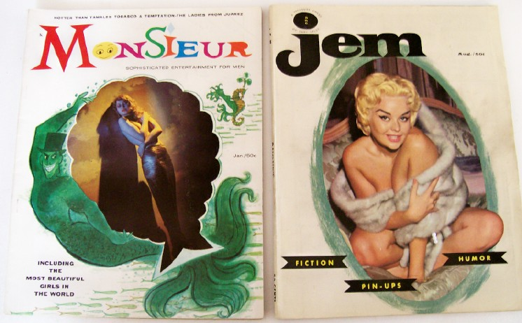 1950s Jem & Monsieur Men's Cheesecake Mags W/Centerfolds